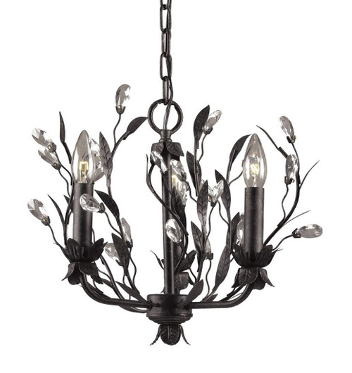 Diamond Life 3-Light Antique Black Iron Branches Crystal Leaves Pendant Chandelier Hanging Ceiling Lighting Fixture