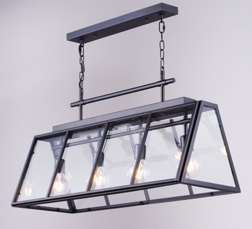 Diamond life DL381 antique black trapezoidal glass cover with four industrial ceiling chandeliers