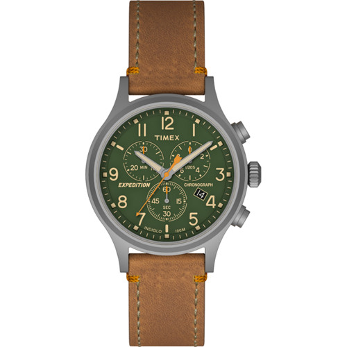 Timex Expedition Scout Chrono Watch - Tan/Green TW4B044009J