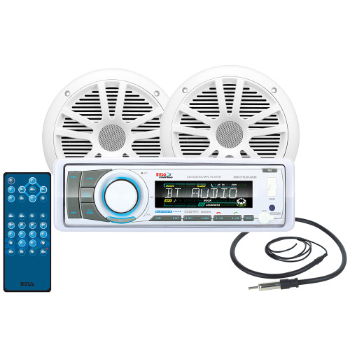 """Bosss Audio MCK752WB.6 Package w/AM/FM/CD Receiver, 2- 6.5"""" Speakers & Antenna"""