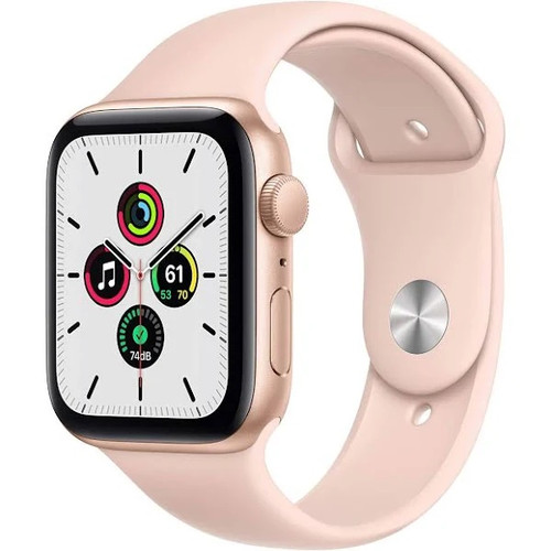 Apple Watch SE GPS 44mm GOLD Aluminum Case with Pink Sand Sport Band - No Tax