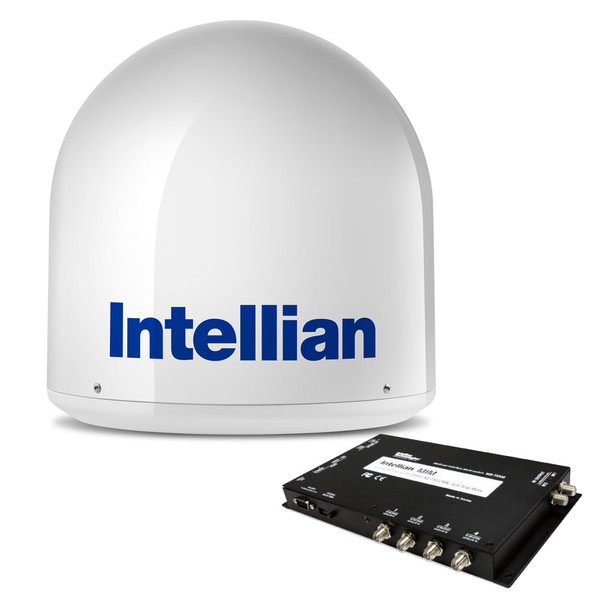 Intellian i2 US Sysem w/ MIM Switch & 15M RG6 Cable - Compact Satellite TV System