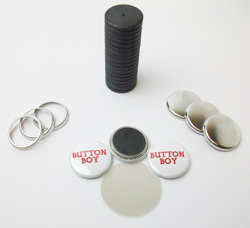 "1"" Tecre Collet Back Magnet Button Parts w/JUST RIGHT FIT Ceramic Magnets 100pcs. - FREE SHIPPING"