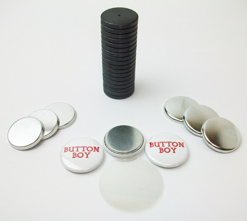 "1"" Tecre Metal Flat Back Magnet Button Parts w/JUST RIGHT FIT Ceramic Magnets 100pcs. - FREE SHIPPING"