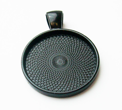 "100 Black Pendant Trays 23mm for use with 1"" Buttons"