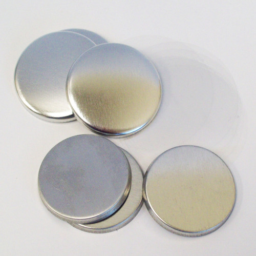 "1.25"" Tecre Metal FLAT Back Button Parts 1-1/4 Inch - 100"