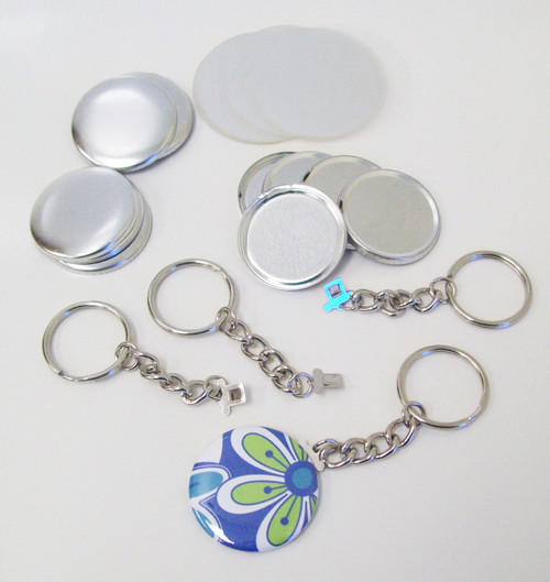 "1.50"" Tecre CHAIN Key Chain Button Parts 1-1/2 Inch - 250 pcs- FREE SHIPPING"