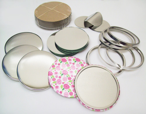 "3"" STD Tecre Mirror Button Parts 3 Inch - Makes 100 Pocket Cosmetic Mirror Buttons"
