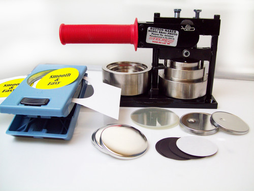 "2.25"" PHOTO & Paper Tecre Button Making Kit - Machine, EK Success Punch, 100 Magnet Button Parts 2-1/4 Inch-FREE SHIPPING"