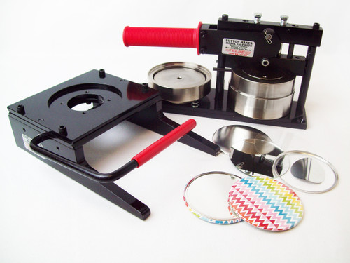 "3.5"" 3-1/2 Inch Button Making Kit - Tecre Button Maker Machine, Tecre Graphic Punch, 200 Mirror Parts"