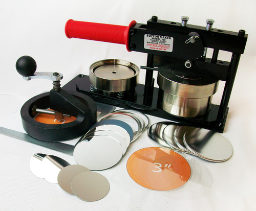 """3"""" Standard Kit -  PAPER Button Maker Machine, Fixed Rotary Circle Cutter and 500 Mirror Parts"""