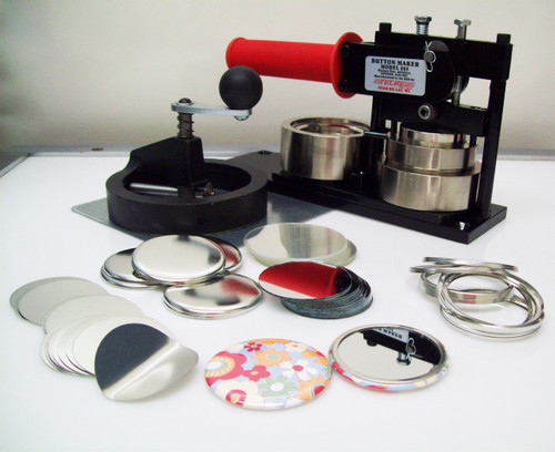"""2.25"""" STD Tecre Button Making Kit - Machine, Fixed Rotary Circle Cutter, 100 Mirror Button Parts 2-1/4 Inch-FREE SHIPPING"""