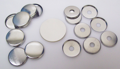 "1"" Tecre METAL FLAT BACK Button Parts WITH HOLE - 100"