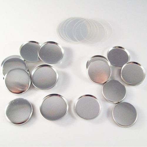 "1"" Tecre METAL FLAT BACK Button Parts - 100"