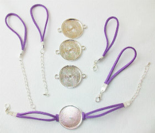 "Bracelet Kits for 1"" Buttons - 23mm Bezel - Enough to make 50 Bracelets-PURPLE"
