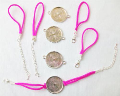 """Bracelet Kits for 1"""" Buttons - 23mm Bezel - Enough to make 100 Bracelets-HOT PINK"""