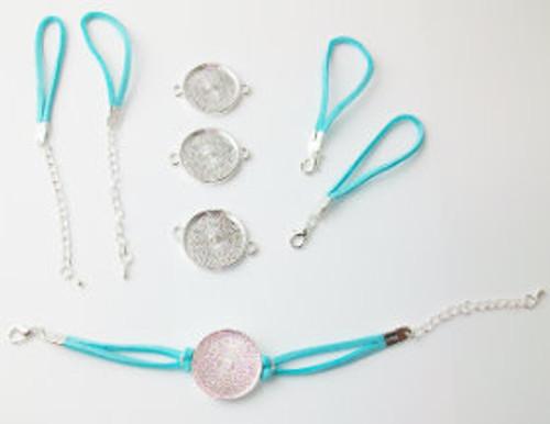 "Bracelet Kits for 1"" Buttons - 23 mm Bezel - Enough to make 100 Bracelets-AQUA"