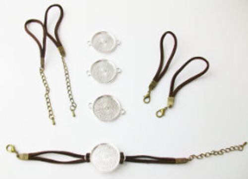 """Bracelet Kits for 1"""" Buttons - 23 mm Bezel - Enough to make 100 Bracelets-BROWN"""