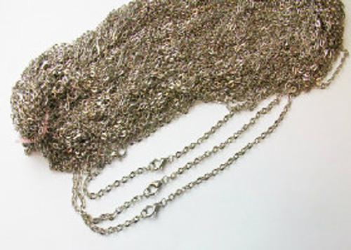 50  Rolo Antique Silver Chain Necklaces 24""