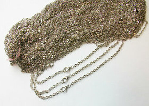 100  Rolo antique Silver Chain Necklaces 18""