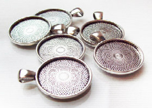 """50 Antique Silver Pendant Trays 23mm for use with 1"""" Buttons"""