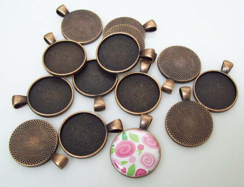 "100  Antique Copper Pendant Trays 23mm for use with 1"" Buttons"