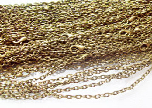 50 Antique Bronze Rolo Chain Necklaces 24""