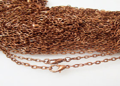 100 Antique Copper Rolo Chain Necklaces 24""
