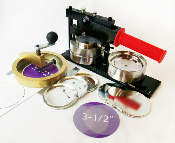 """3.5 """"  3-1/2""""  FABRIC Tecre Button Making Kit - Machine, Fixed Rotary Circle Cutter, 100 Pin Back Button Parts"""