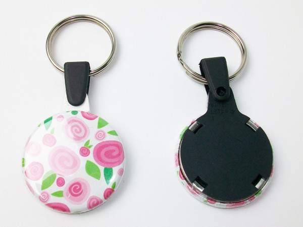 """1.25"""" 1-1/4 inch Versa Back Split Ring with BLACK Plastic Tab Key Chain Complete Button Parts 100 pcs.-FREE SHIPPING"""