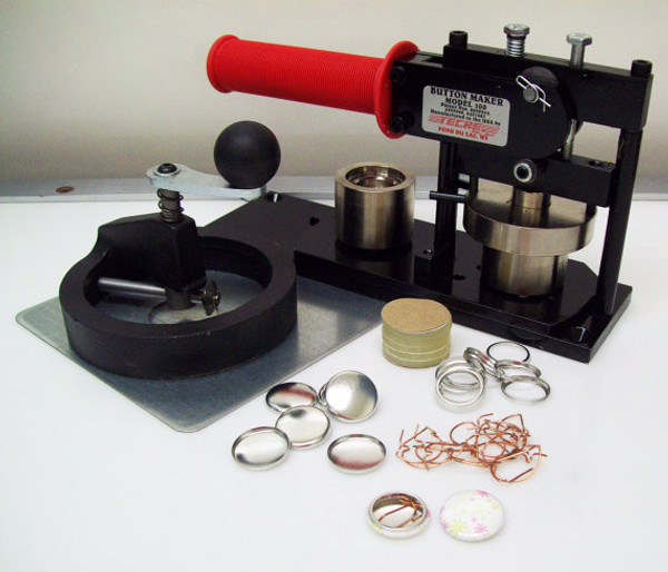 """1"""" Tecre Button Making Kit  - Machine, Fixed Rotary Circle Cutter, 500 Pin Back Button Parts-FREE SHIPPING"""