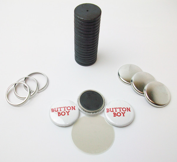 """1"""" Tecre Collet Back Magnet Button Parts w/JUST RIGHT FIT Ceramic Magnets 100pcs. - FREE SHIPPING"""