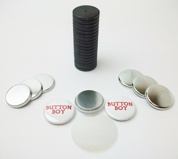 """1"""" Tecre Metal Flat Back Magnet Button Parts w/JUST RIGHT FIT Ceramic Magnets 1000pcs. - FREE SHIPPING"""