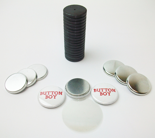 """1"""" Tecre Metal Flat Back Magnet Button Parts w/JUST RIGHT FIT Ceramic Magnets 100pcs. - FREE SHIPPING"""