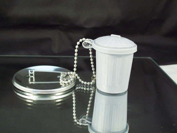 Trash Can Button Accessories - 25 pcs - Includes Trash Can and Ball Chain