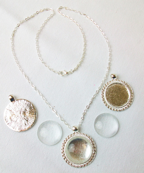 """Shiny Silver Sunflower Necklace Kit-Sunflower Pendant Tray, 18"""" Rolo Chain Necklace and Glass Cabochons-10 pcs"""