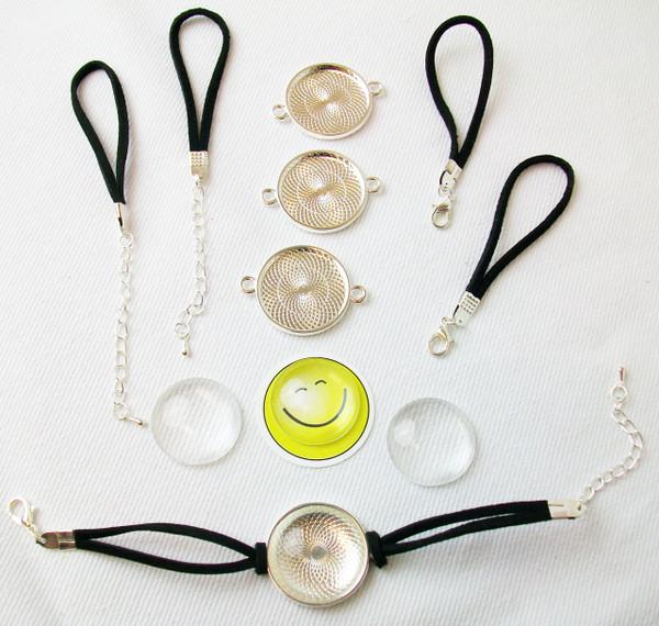 Bracelet Kits Black with cabochon glass - 25mm Bezel - Enough to make 100 Bracelets