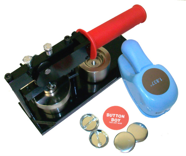 """1.50"""" Tecre Button Making Kit - Machine, BB Punch, 100 Pin Back Button Parts 1-1/2 Inch-FREE SHIPPING"""
