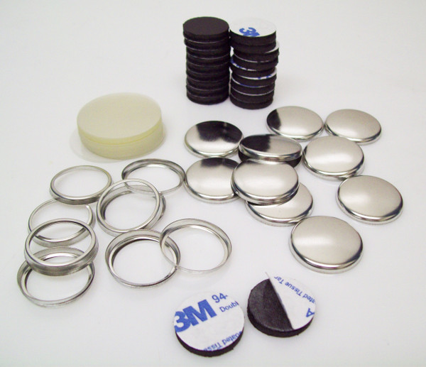 """1"""" Collet Back Magnet Button Parts with Rubber Magnets w/ 3M Adhesive - 250"""