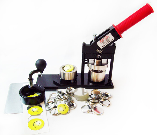 "1.25"" Tecre FABRIC Button Making Kit - Machine, Fixed Mini Rotary Circle Cutter, 500 Pin Back Button Parts-FREE SHIPPING"