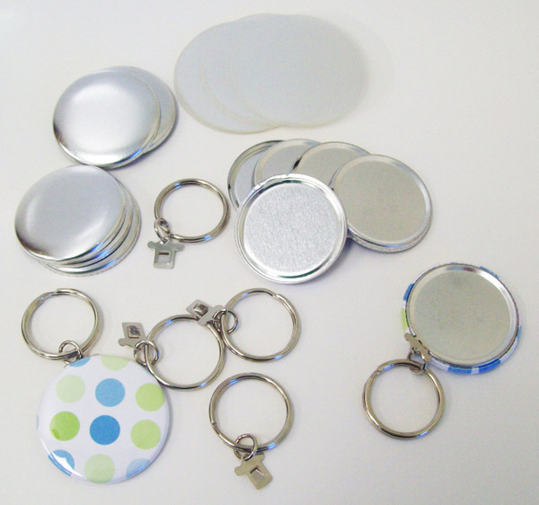 "1.50"" Tecre SPLIT Key Chain Button Parts 1-1/2 Inch - 500 pcs-FREE SHIPPING"