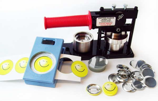 "1.50"" Tecre Button Making Kit - Machine, EK Success Punch, 100 Pin Back Button Parts 1-1/2 Inch-FREE SHIPPING"