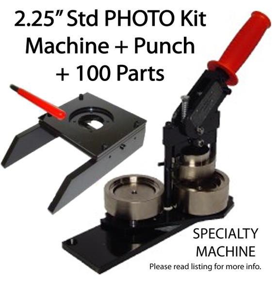 """2.25"""" PHOTO & Paper Tecre Button Making Kit - Machine, Graphic Punch, 100 Pin Back Button Parts 2-1/4 Inch-FREE SHIPPING"""