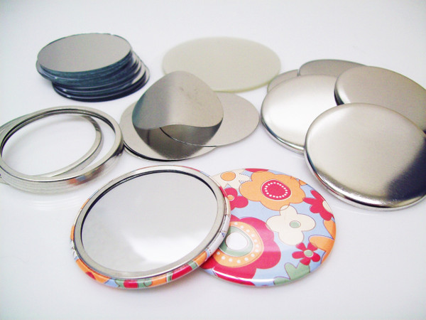 """2.25"""" STD Tecre Mirror Button Parts 2-1/4 Inch - Makes 100 Pocket Cosmetic Mirrors-FREE SHIPPING"""