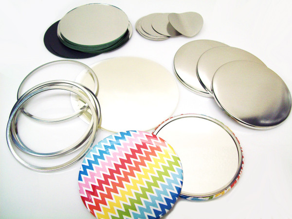 "3-1/2"" Tecre Mirror Button Parts 3.50 Inch - Enough to Make 100 Pocket Cosmetic Mirror Buttons"