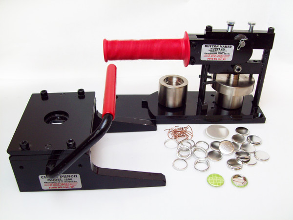 """7/8""""  Button Making Kit - Tecre Button Machine, Graphic Punch, 1000 7/8 Inch Pin Back Button Parts-FREE SHIPPING"""