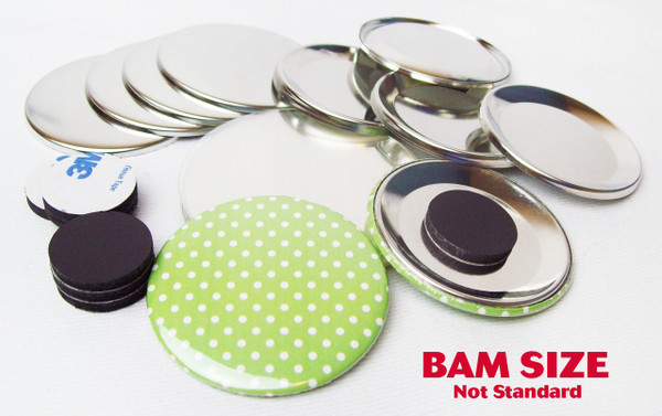 "BAM Size 2-3/8"" (2-1/4"") INDENTED BACK Magnet Parts for Button Making Machines - 250 pcs"