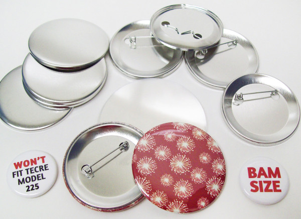 """BAM Size 2-3/8"""" (2-1/4"""") Pin Back Button Parts for Button Making Machines - 100 pcs"""