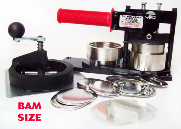 """BAM Size 2-3/8"""" (2-1/4"""") Tecre Button Machine, Fixed Rotary Cutter, 250 Pin Back Button Parts-FREE SHIPPING"""