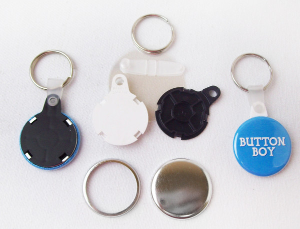 """1.25"""" 1-1/4 inch Versa Back Split Ring with WHITE Plastic Tab Key Chain Complete Button Parts 250 pcs.-FREE SHIPPING"""